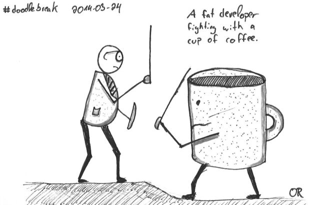 Doodle Break: A fat developer fighting with a cup of coffee