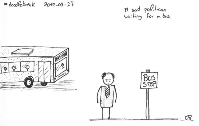 Doodle Break: A sad politican waiting for a bus