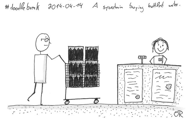 Doodle Break: A sysadmin buying bottled water